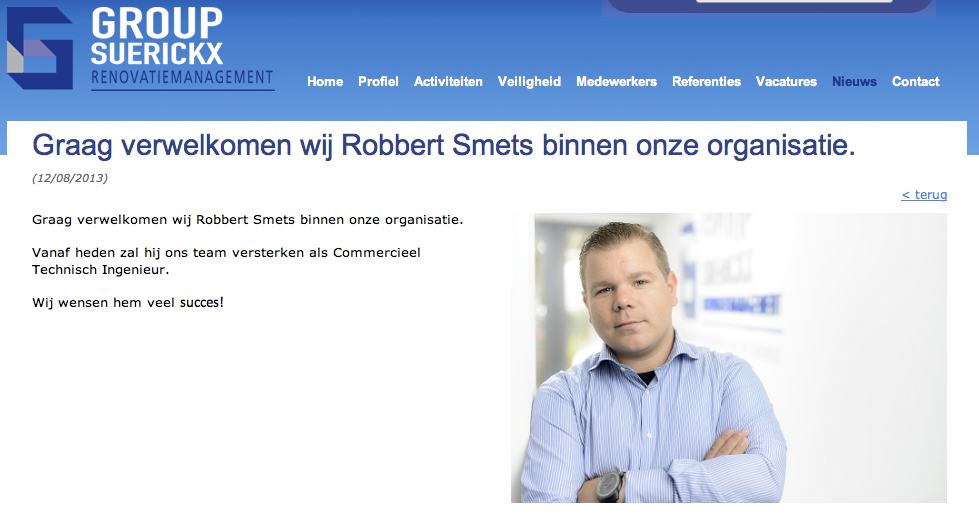 Screenshot van de website van Group Suerickx.
